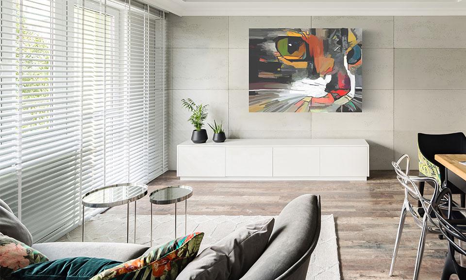 horizontale lamellen aluminium woonkamer