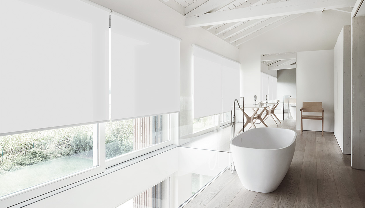 Roller blinds with a washable fabric.