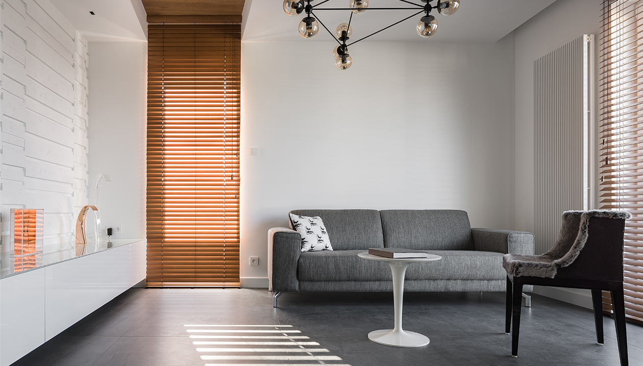 Horizontal blinds wood with ladder cord